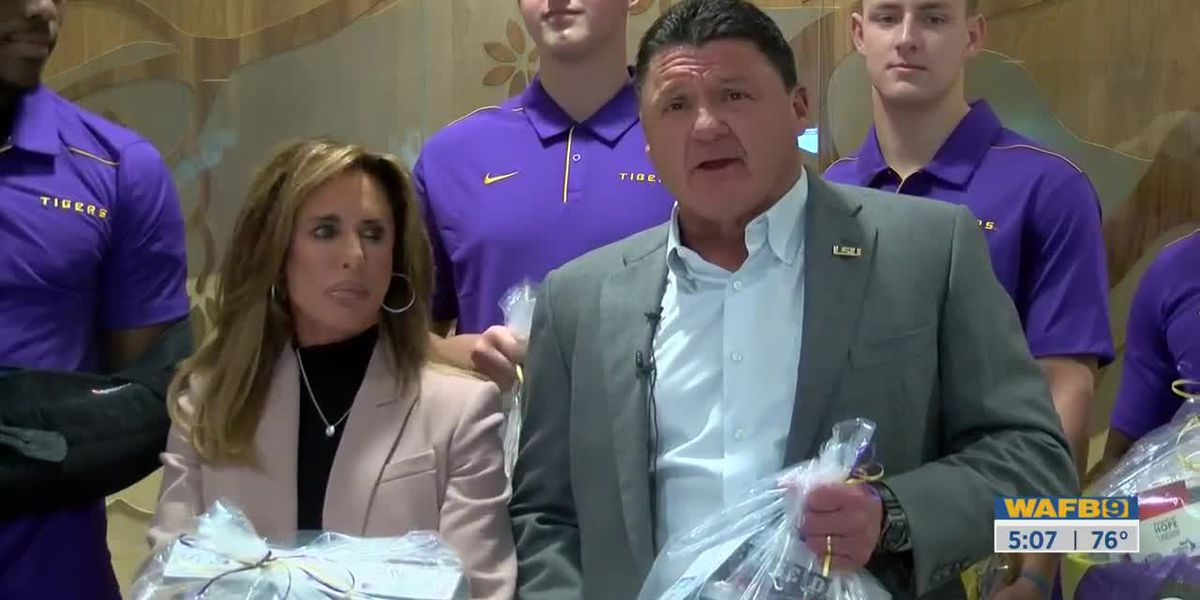 Coach O, Kelly Orgeron, and LSU Spirit Team visit OLOLCH to give baskets of hope