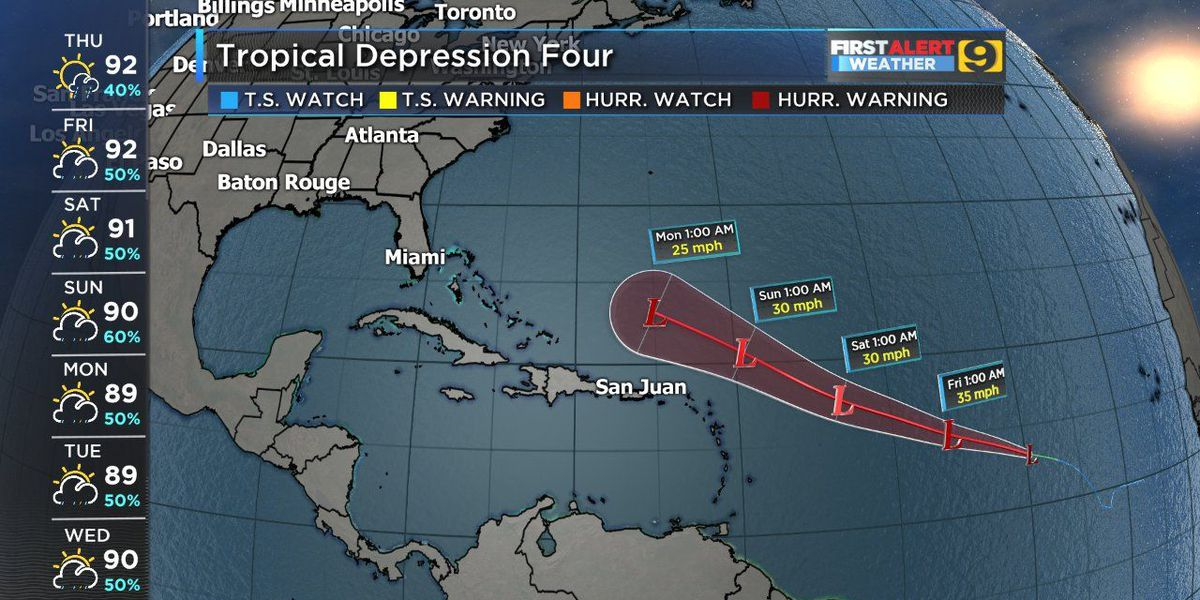 Tropical depression isn't expected to become tropical storm