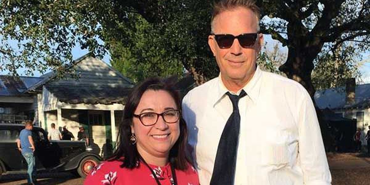 Kevin Costner poses for picture while shooting in Ascension Parish