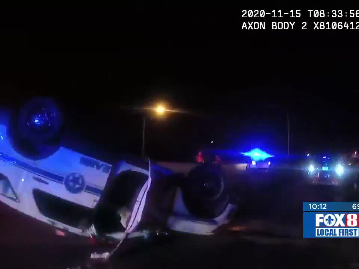 NOPD video shows aftermath of rollover crash involving NOPD officer arrested for impaired driving