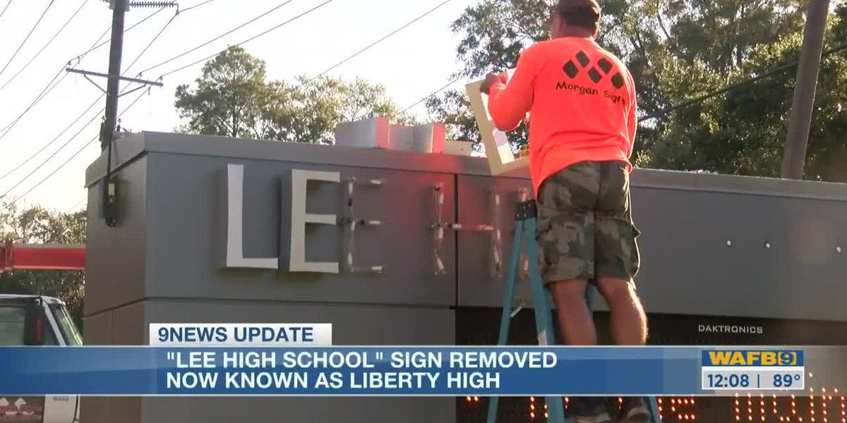 Lee High School sign removed; School now known as Liberty High