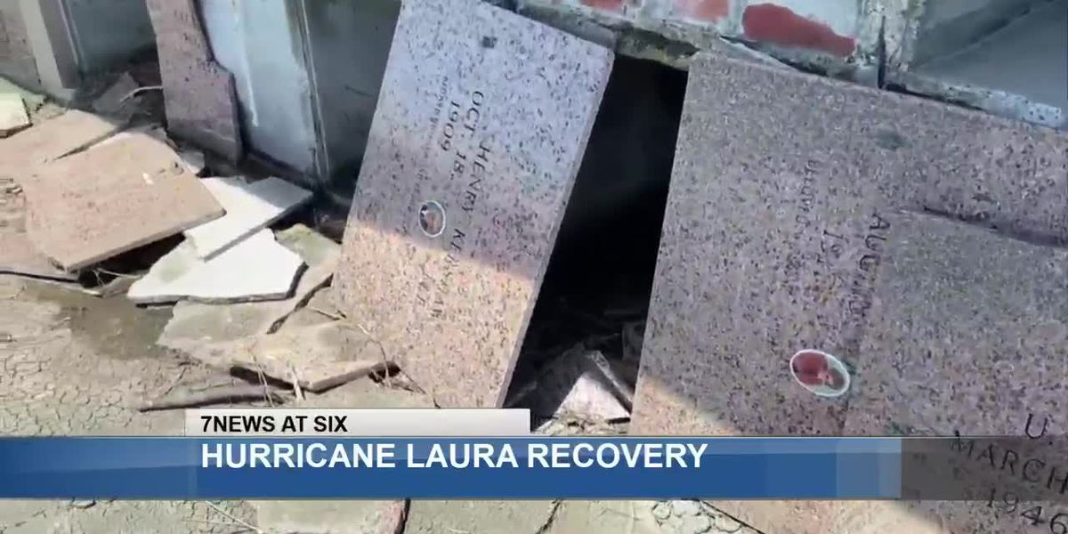 Hurricane Laura causes caskets to float away in Cameron Parish