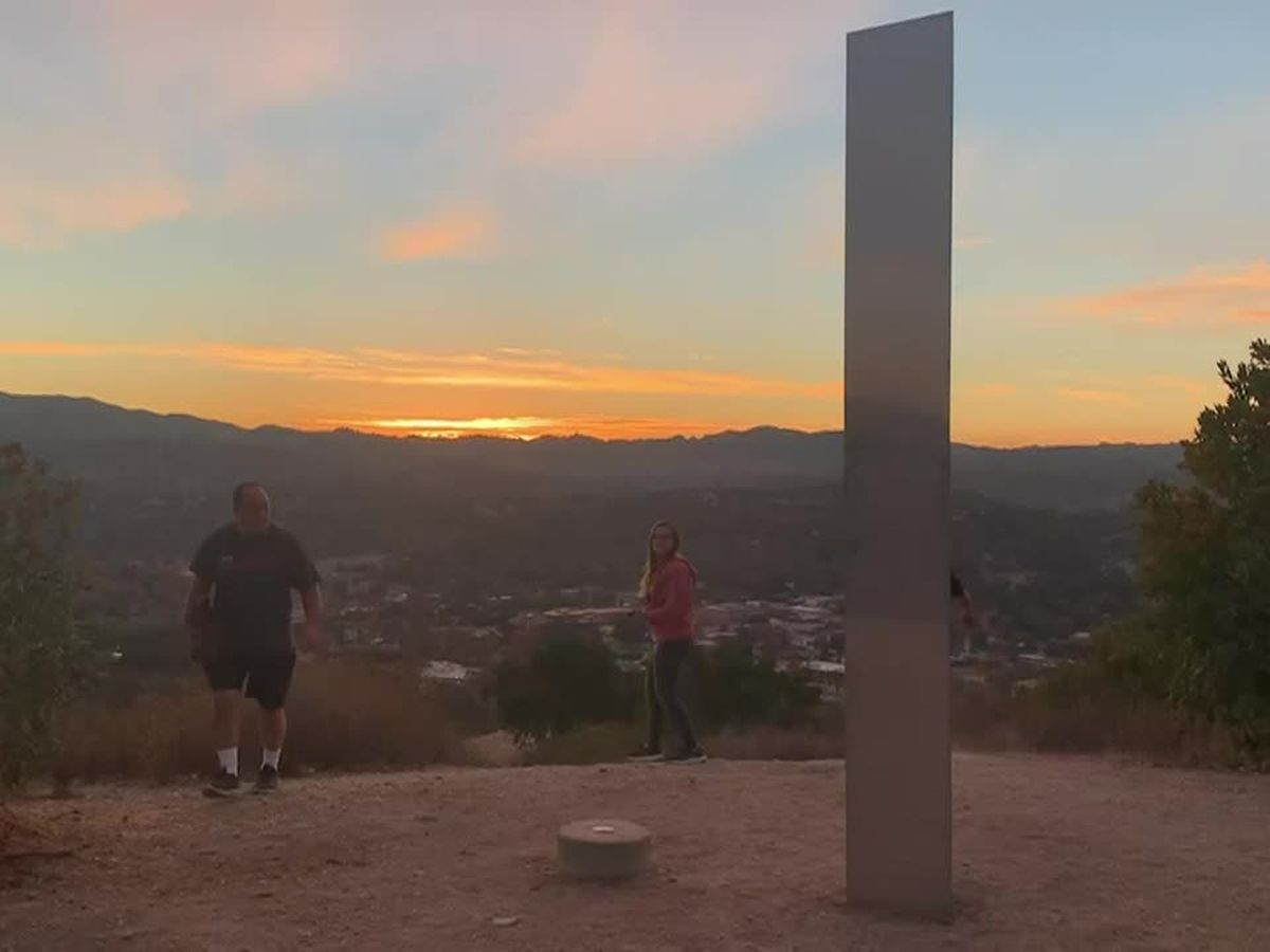 Another metal monolith appears on Calif. hiking trail