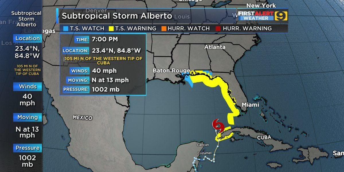 Eastward trend keeps La. out of Alberto's path