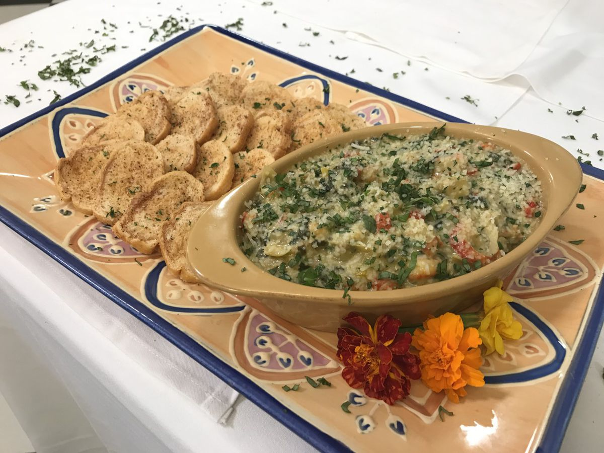 Crawfish, spinach and artichoke dip
