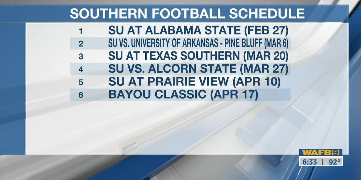 SWAC releases 2020 football schedule for Southern University Jaguars to be played in Spring 2021