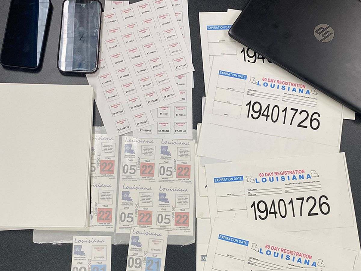 Pair arrested for allegedly selling fake La. inspection stickers and temporary license plates