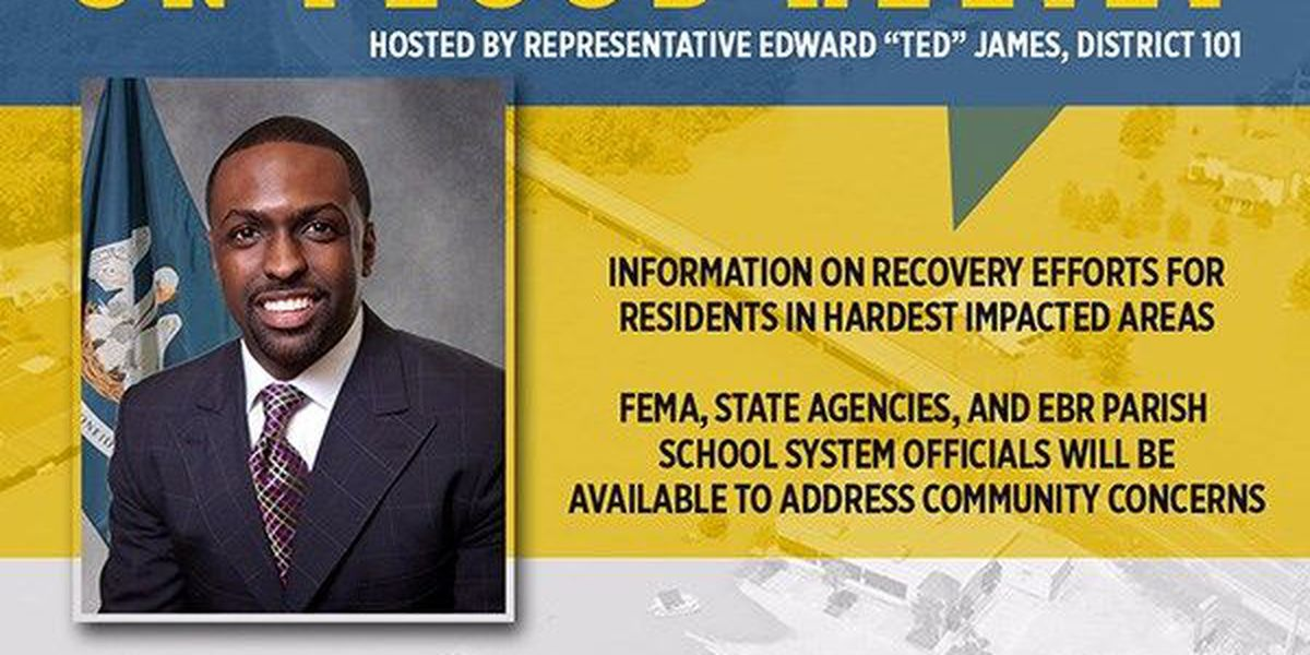 Representative Ted James to hold town hall on flood relief assistance