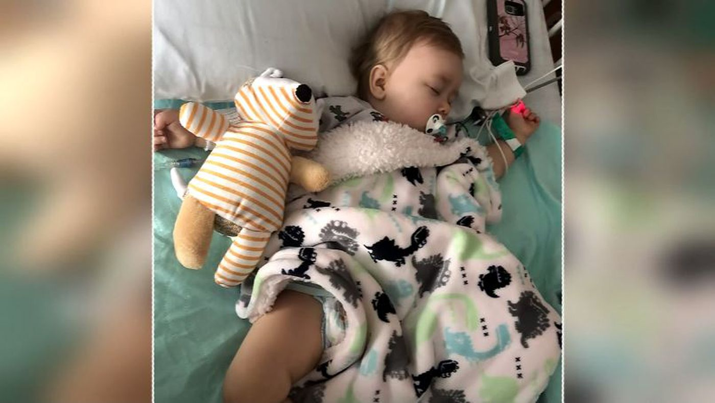 Alianah Beam, 1, was hospitalized after she was shot during a house party. The bullet went completely through the little girl's leg, just below her knee. (Source: Samantha Allen/KIRO/Cox/CNN)