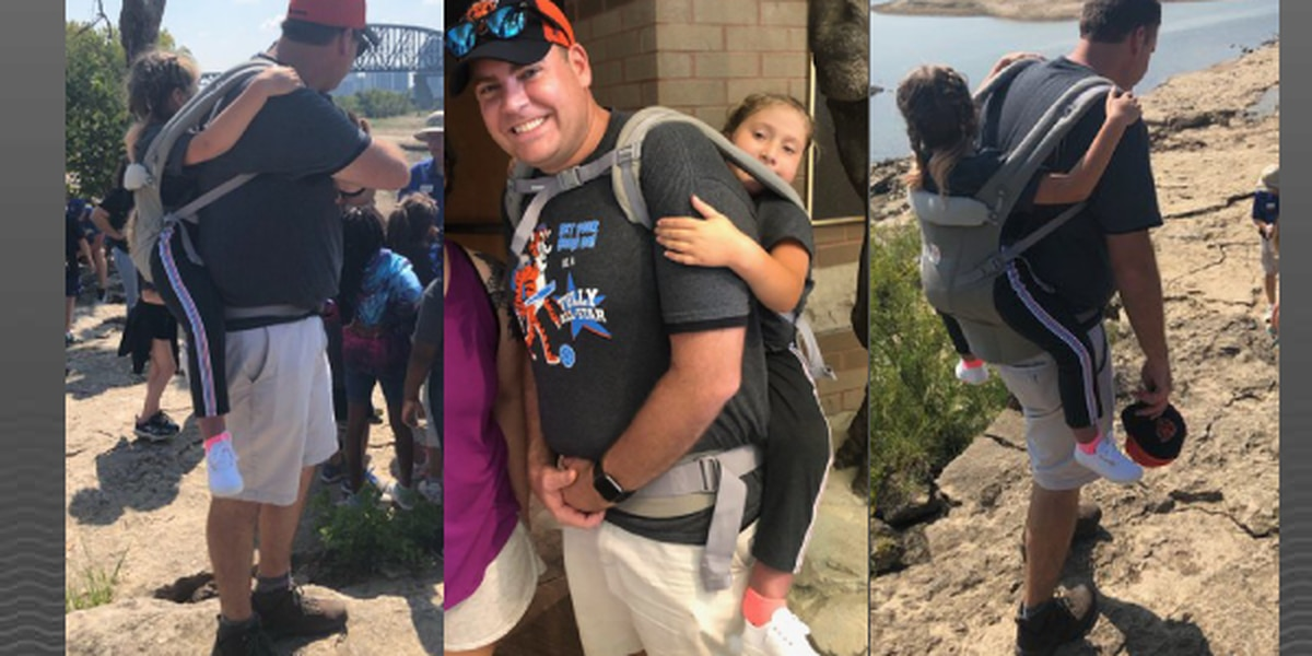 Teacher carries 10-year-old with spina bifida on field trip so she doesn't have to miss out