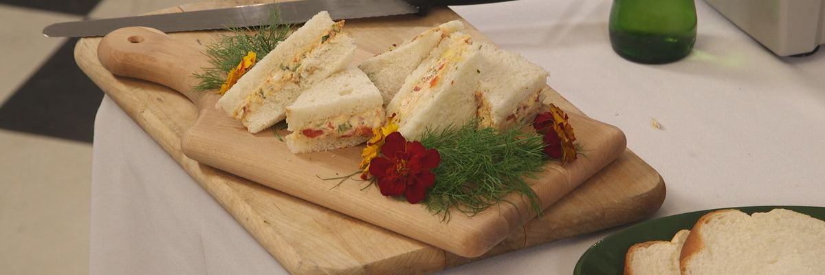 Pimiento Cheese, Bacon, and Roasted Red Pepper Finger Sandwiches
