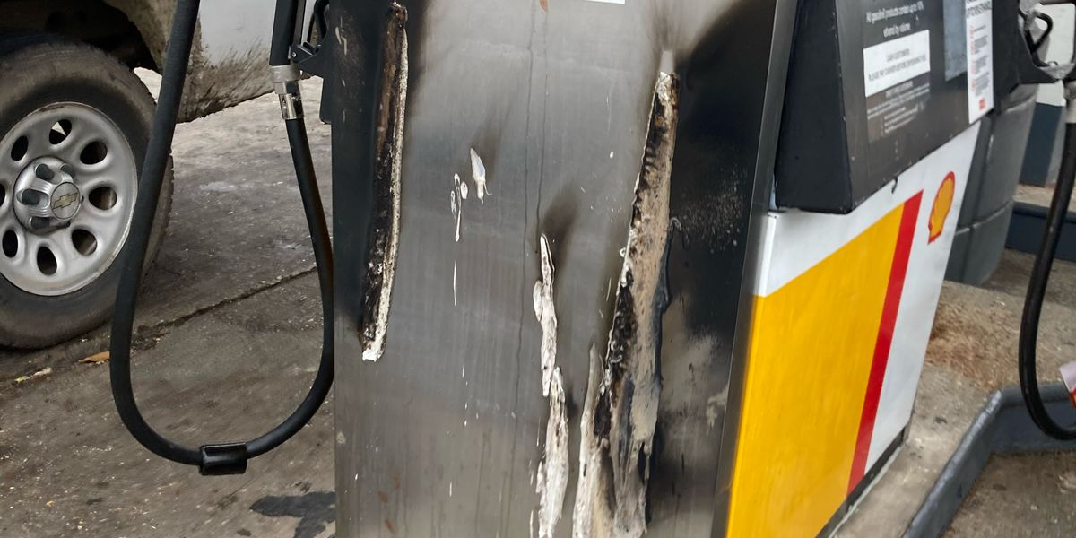 Authorities searching for man accused of dousing gas station pump, setting it on fire