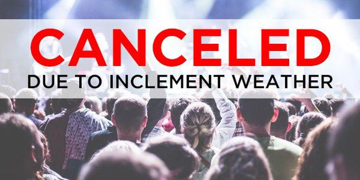 Event cancellations/changes due to weather