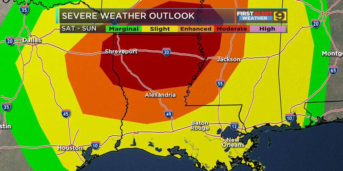 FIRST ALERT FORECAST: Slight to enhanced risk of severe weather Saturday evening, overnight