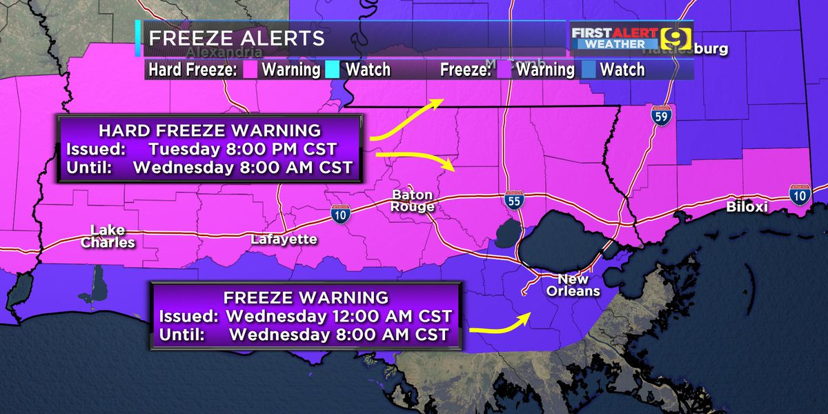 FIRST ALERT FORECAST: Hard Freeze Warning issued for Baton Rouge area
