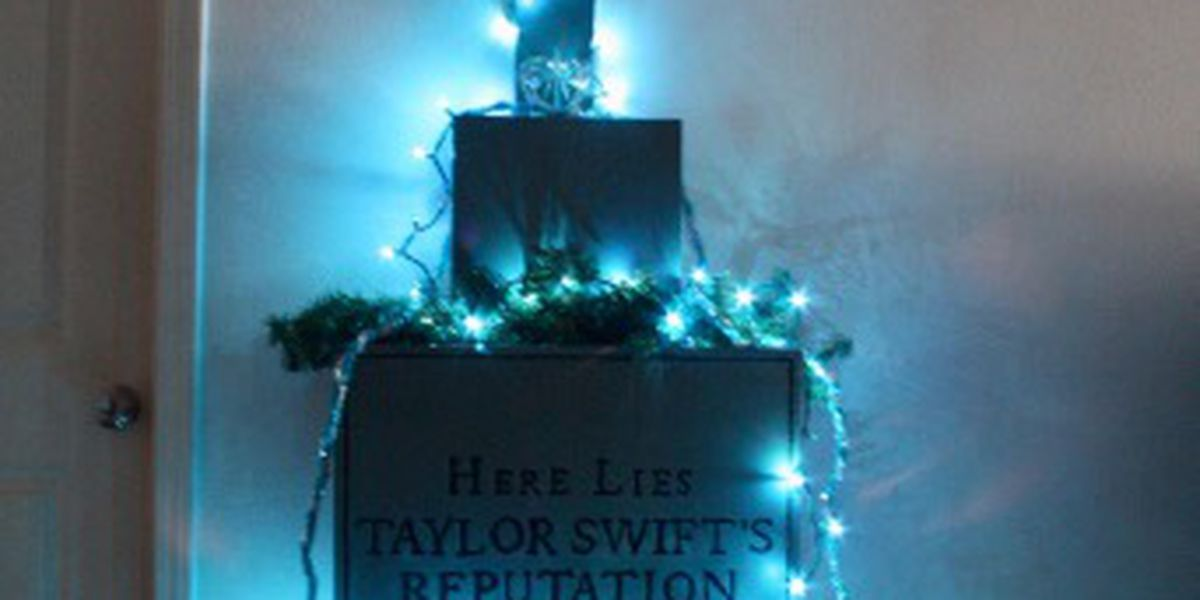 Family recreates Taylor Swift tombstone from 'Look What You Made Me Do' as Christmas tree