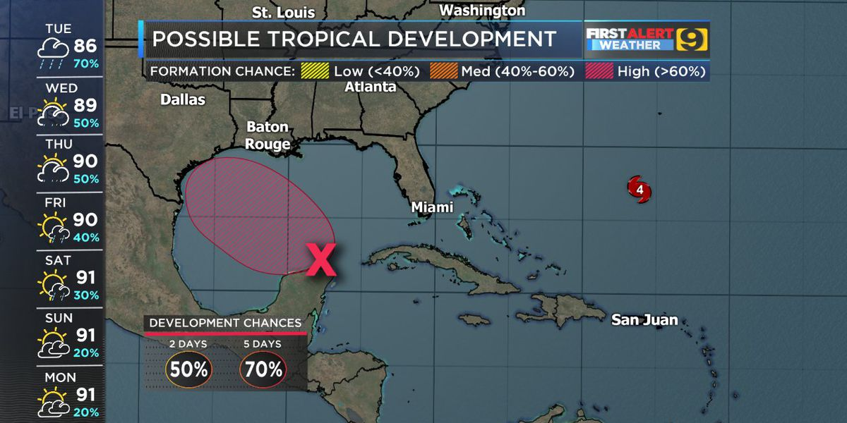 Tropical development likely in the Gulf by Thursday