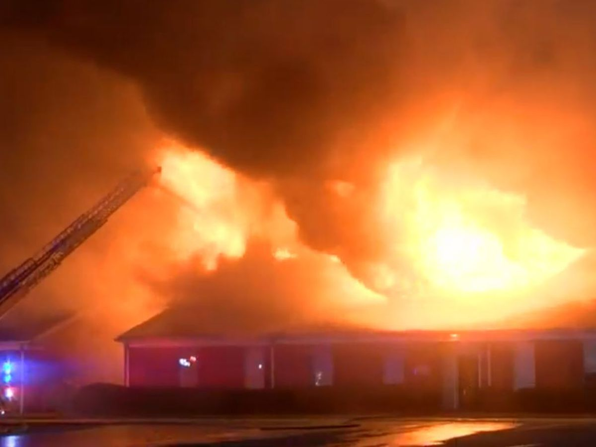 Bossier City megachurch still smoldering after a huge morning fire