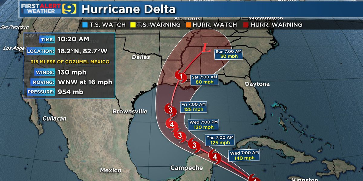 FIRST ALERT FORECAST: Delta strengthens to Cat. 4 hurricane