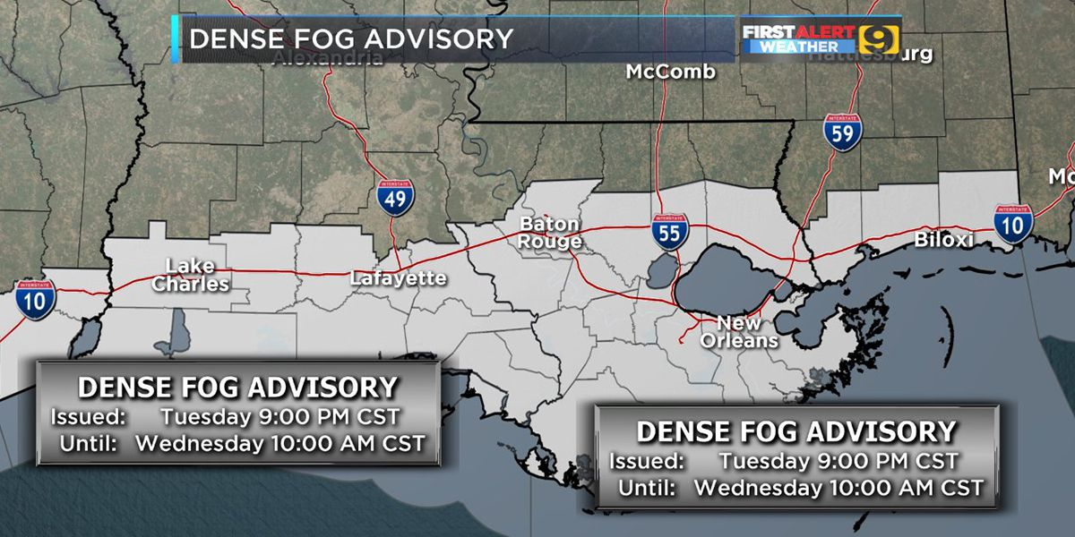 FIRST ALERT FORECAST: Dense fog expected to redevelop overnight into Wednesday morning