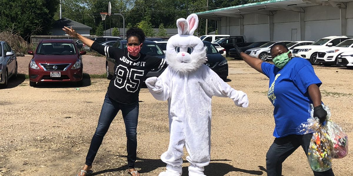 Easter Bunny visits drive-thru Easter basket distribution